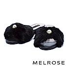 拖鞋 MELROSE 奢華珍珠設計貂毛粗低跟拖鞋-黑