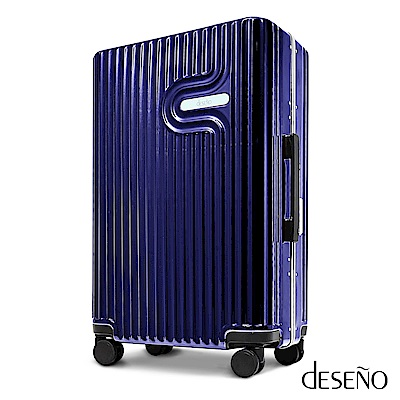 Deseno 法式工藝陶瓷款28吋PC光鏡細鋁框行李箱-寶藍