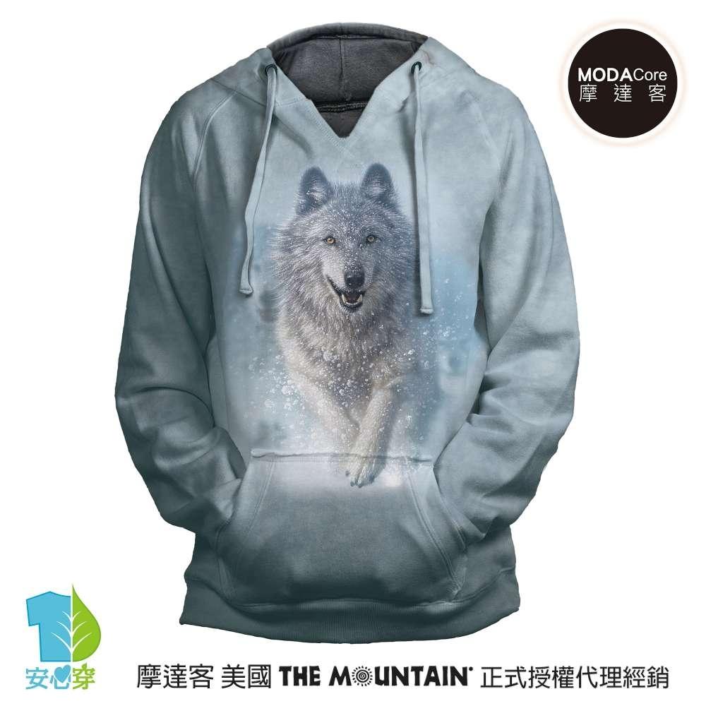 摩達客 預購 美國進口The Mountain 雪狼開路 女版V領長袖連帽T恤