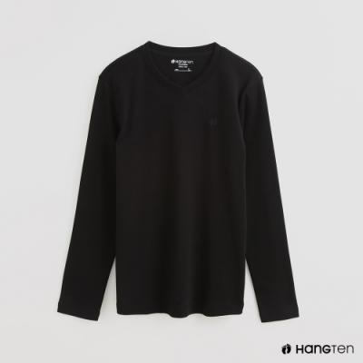Hang Ten - 男裝 - 簡約素面小圖樣棉質圓領上衣 - 黑