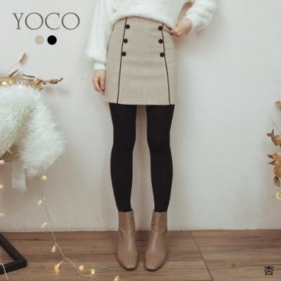 東京著衣-YOCO 冬季戀歌雙排釦點綴質感磨毛短裙-S.M.L(共二色)