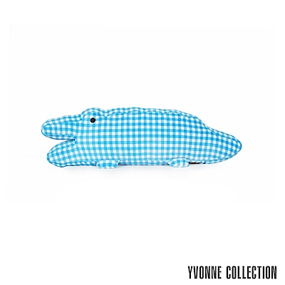 Yvonne Collection鱷魚造型短抱枕-藍格