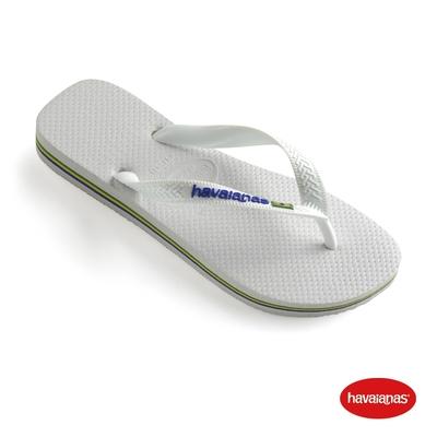 Havaianas哈瓦仕 拖鞋 夾腳拖 人字拖 巴西國旗 男女鞋 白 4110850-0001U Brasil Logo