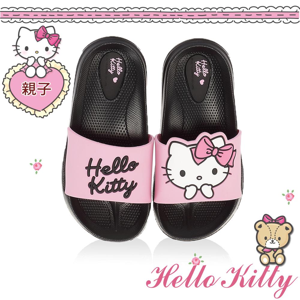 HelloKitty親子鞋童鞋 不對稱輕量室內外拖鞋-黑