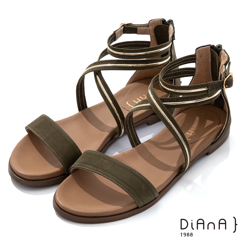 DIANA 1.8cm 質感牛皮金屬飾條環繞羅馬低跟涼鞋-綠