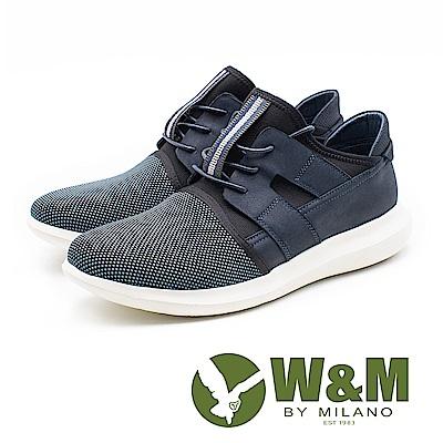W&M 透氣拼接直套運動休閒鞋 男鞋 - 藍(另有黑)