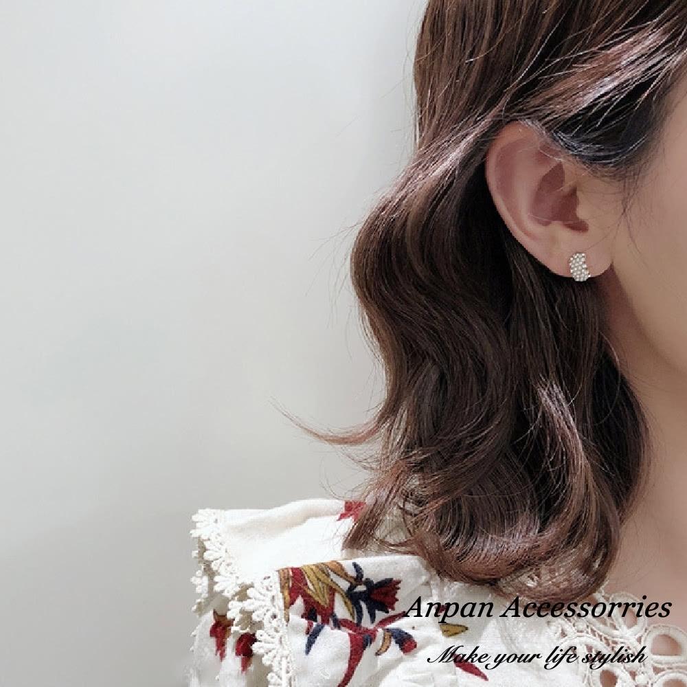 【3件58折/ANPAN愛扮】韓東大門氣質優雅珍珠糖心水鑽925銀耳針式耳環