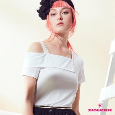 【SHOWCASE】氣質單肩帶露肩方領百搭雪紡T恤(白)