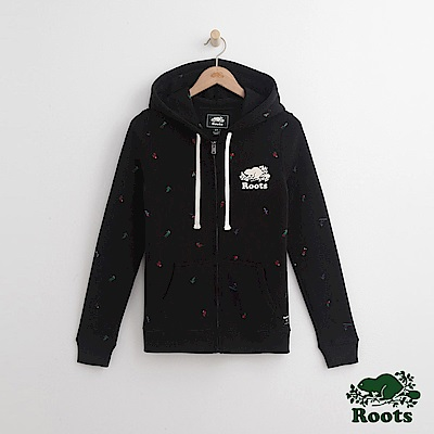 Roots 女裝- 滿版滑冰連帽外套- 黑
