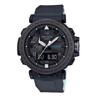 CASIO PRO TREK系列 雙LED夜間戶外太陽能錶(PRG-650Y-1)-黑x51mm