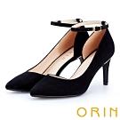 ORIN 時尚名媛 素面羊皮繫帶尖頭高跟鞋-黑色
