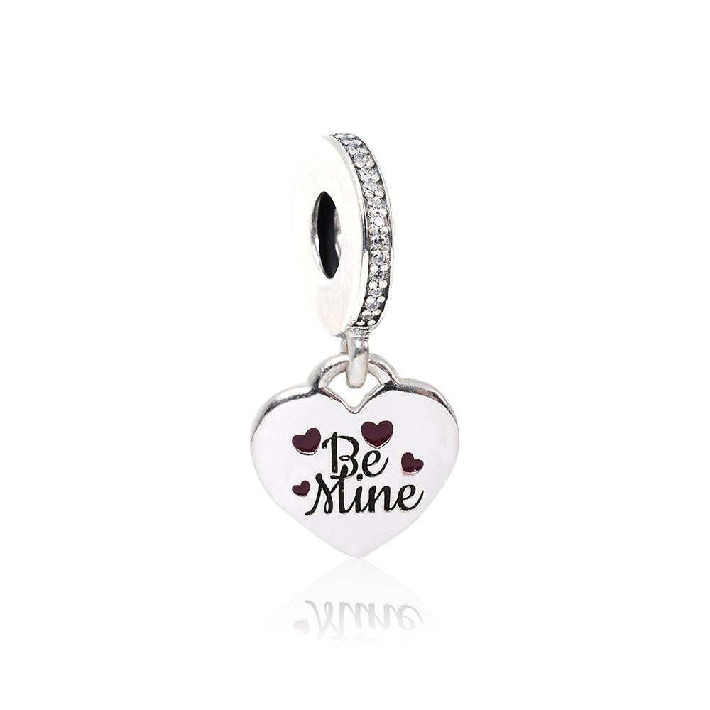 Pandora 潘朵拉 Be Mine刻字愛心鑲鋯 垂墜純銀墜飾 串珠
