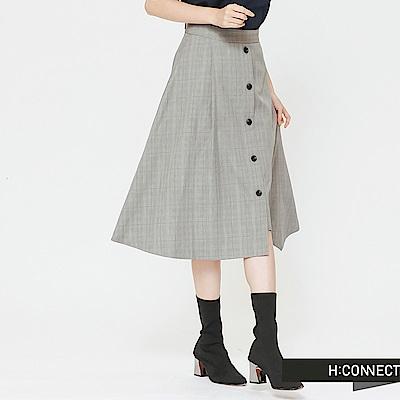 H:CONNECT 韓國品牌 女裝-排釦設計不規則中長裙-卡其