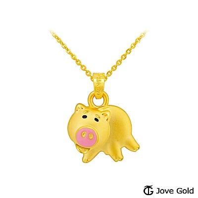 Disney迪士尼金飾 立體硬金黃金墜子-火腿豬款 送項鍊