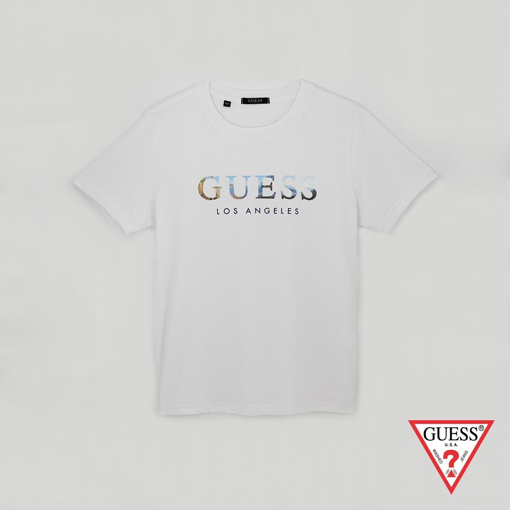 GUESS-男裝-美式風景經典LOGO短T-白 原價1390