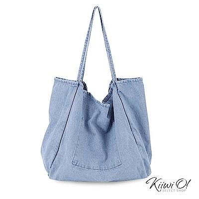 Kiiwi O! shoulderbag | 大容量水洗丹寧帆布包 淺丹寧