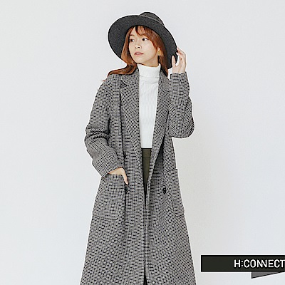 H:CONNECT 韓國品牌 女裝-排扣格紋毛呢大衣-灰