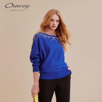 OUWEY歐薇 奢華感燙鑽挑洞組織針織上衣(藍)