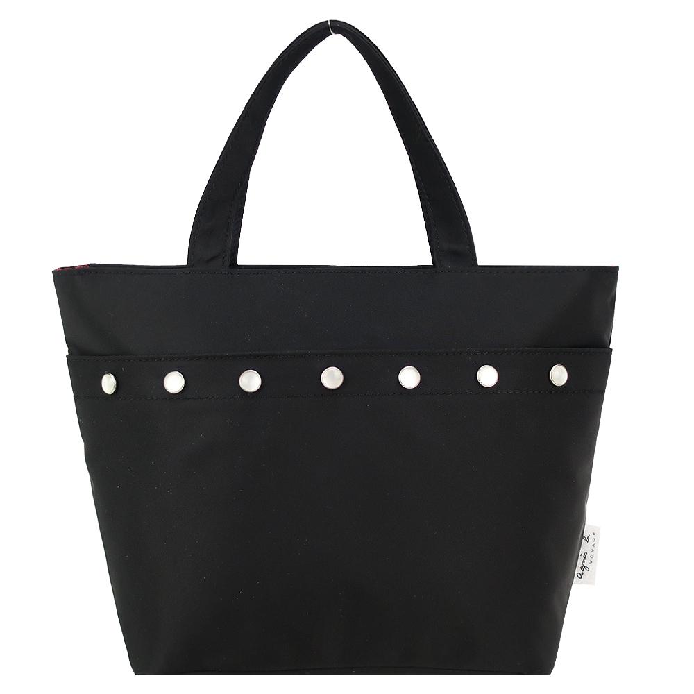 agnes b. 排釦飾邊尼龍手提包(黑)