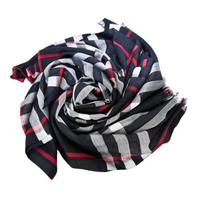 BURBERRY 經典格紋輕質羊毛絲綢混紡流蘇圍巾(藍x紅)