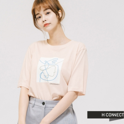 H:CONNECT 韓國品牌 女裝 -圓領幾何圖印T-shirt - 卡其