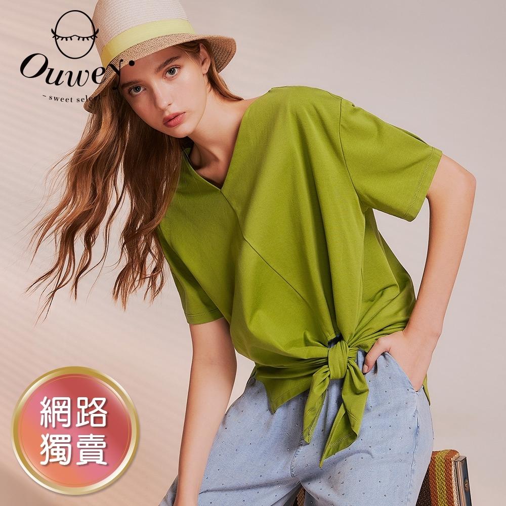 OUWEY歐薇 設計感斜V領抓褶綁結上衣(磚/綠/藍)3212161206