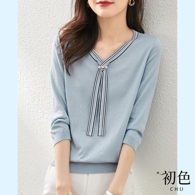 初色  簡約長領結針織衫-純淨藍-(F可選)
