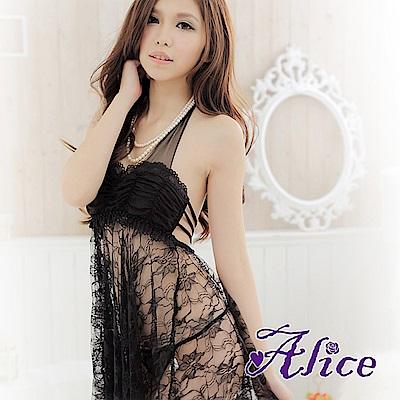 Alice騷女夏火辣透膚掛脖情趣內衣極度誘惑吊帶睡裙-AK029