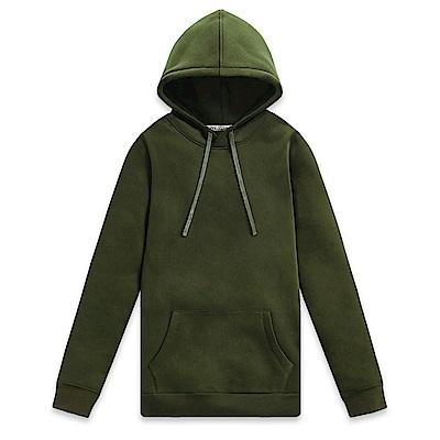 101原創 素色刷毛連帽T-男-軍綠