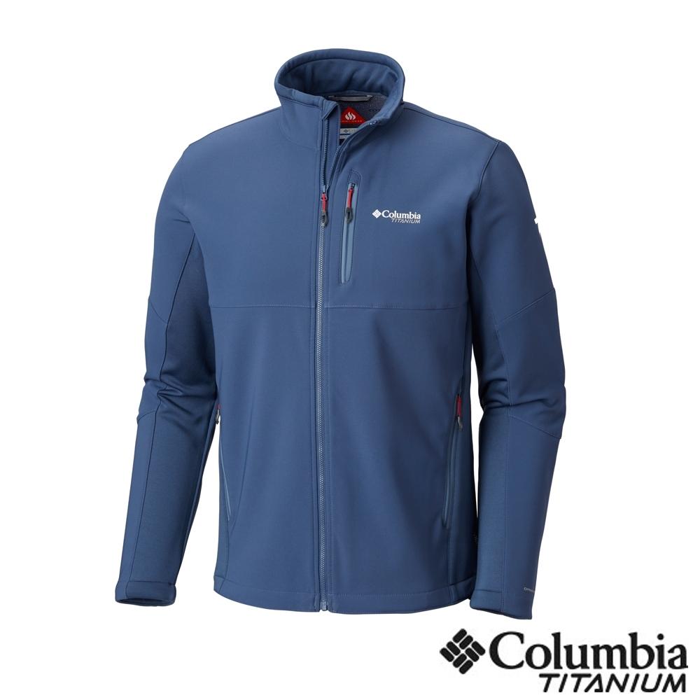 Columbia 哥倫比亞 男款-鈦 防潑保暖軟殼外套-墨藍UAE05040IB