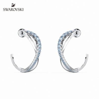 SWAROVSKI 施華洛世奇 Twist 白金色簡約曲線藍水晶穿孔耳環