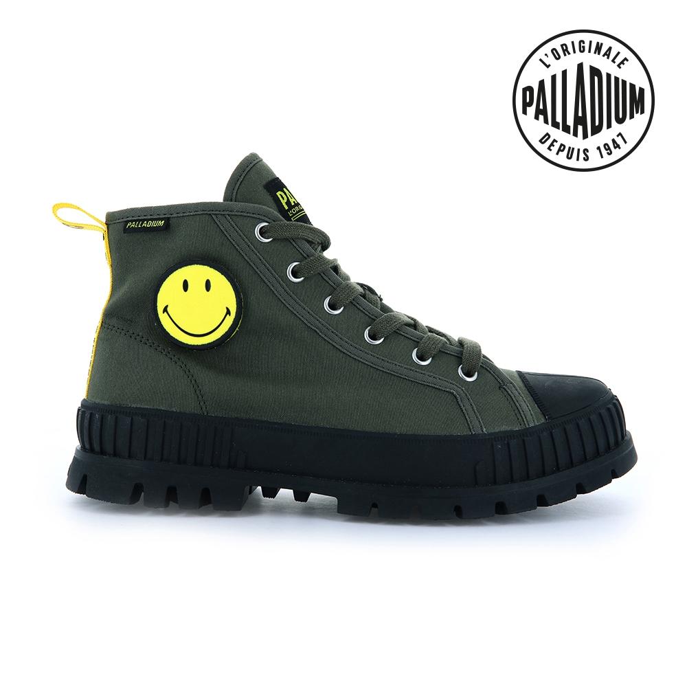 PALLADIUM PALLASHOCK SMILEY HI微笑聯名巧克力厚底鞋-中性-墨綠