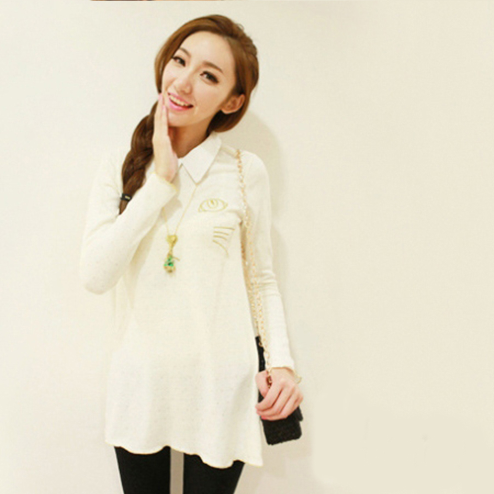 Lockers 木櫃 復古小領金色貓咪棉質長T洋裝/連身裙-白色