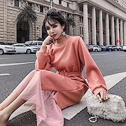 DABI 韓系復古長毛呢超仙網紗長袖洋裝
