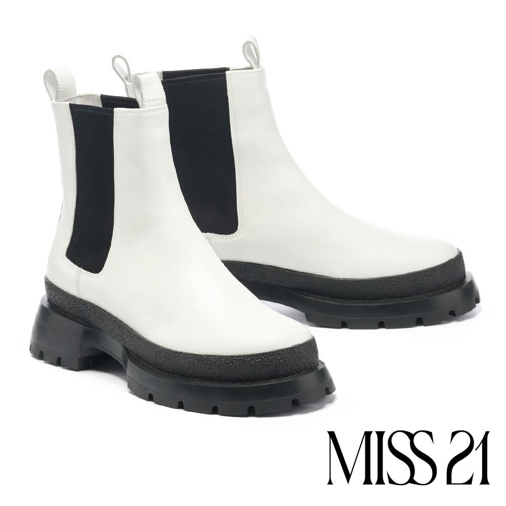 短靴 MISS 21 獨領風潮全真皮厚底切爾西短靴-白