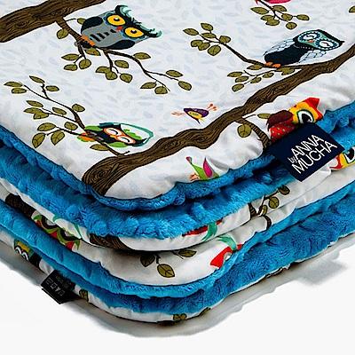 La Millou 暖膚豆豆毯(加大款)-樹屋貓頭鷹(土耳其藍)
