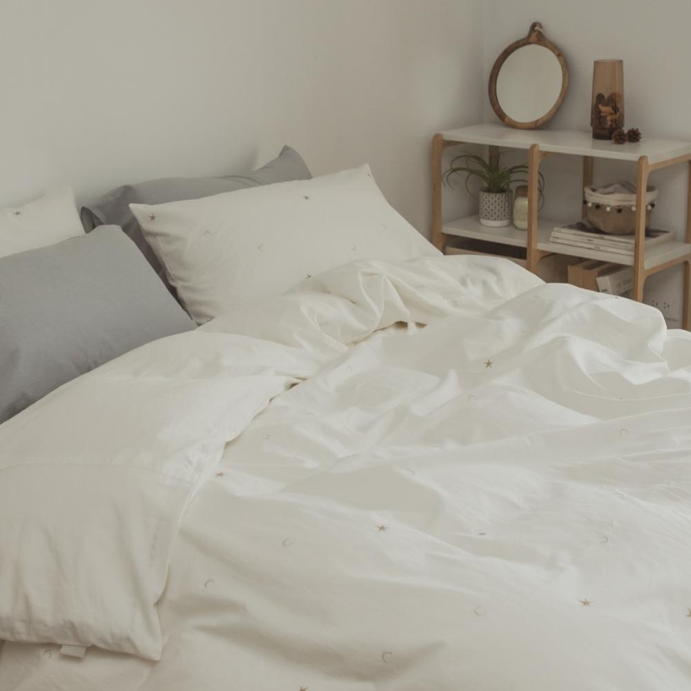 翔仔居家 新疆棉系列 單人刺繡被套 - 珍珠白x星星