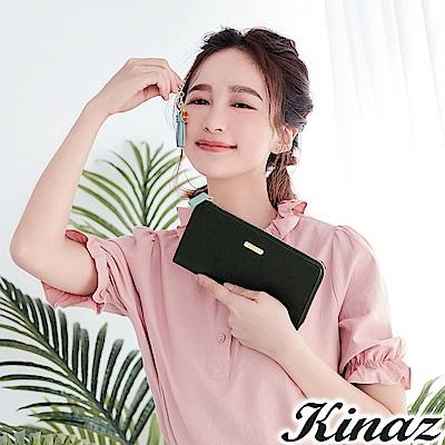 KINAZ 甜蜜驚喜L型拉鍊長夾-巧克黑-甜心磚系列