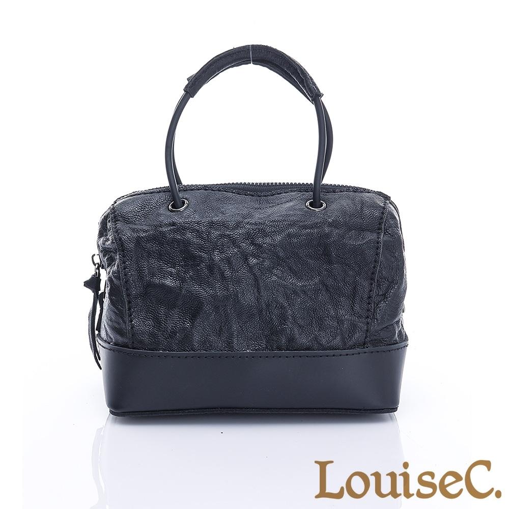 LouiseC. 時尚知性羊皮波士頓小包-經典黑 MTB3002