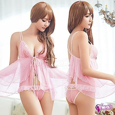 Sexy Cynthia性感睡衣 浪漫粉紅透視柔紗前開襟二件式性感睡衣-粉F