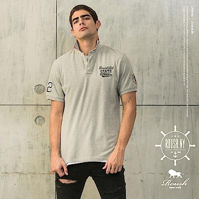 Roush #22領片撞色設計美式水洗POLO衫(3色)