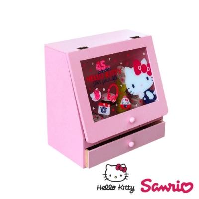 CY本舖 Hello Kitty 凱蒂貓 透明掀蓋式收納 抽屜櫃 桌上收納盒 化妝品收納