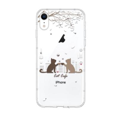 Corner4 iPhone XR 6.1吋奧地利彩鑽防摔手機殼-午茶貓咪