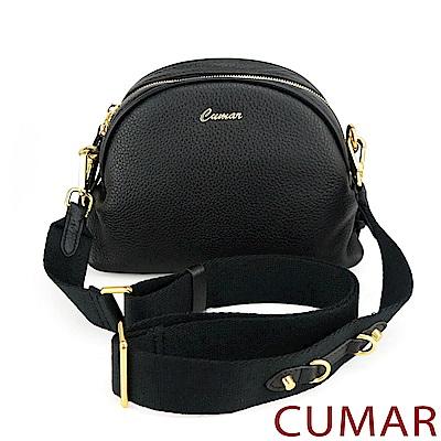 CUMAR  金屬釘飾寬背帶牛皮小包-黑