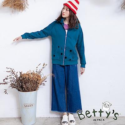betty's貝蒂思 後鬆緊側配色抽鬚牛仔褲(藍色)