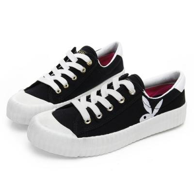 PLAYBOY 彩糖電繡兔頭帆布鞋-黑-Y5706CC