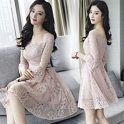 收腰顯瘦甜美綁帶粉色蕾絲洋裝連身裙S-XL-REKO