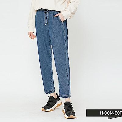 H:CONNECT 韓國品牌 女裝-鬆緊抽繩牛仔寬褲-藍
