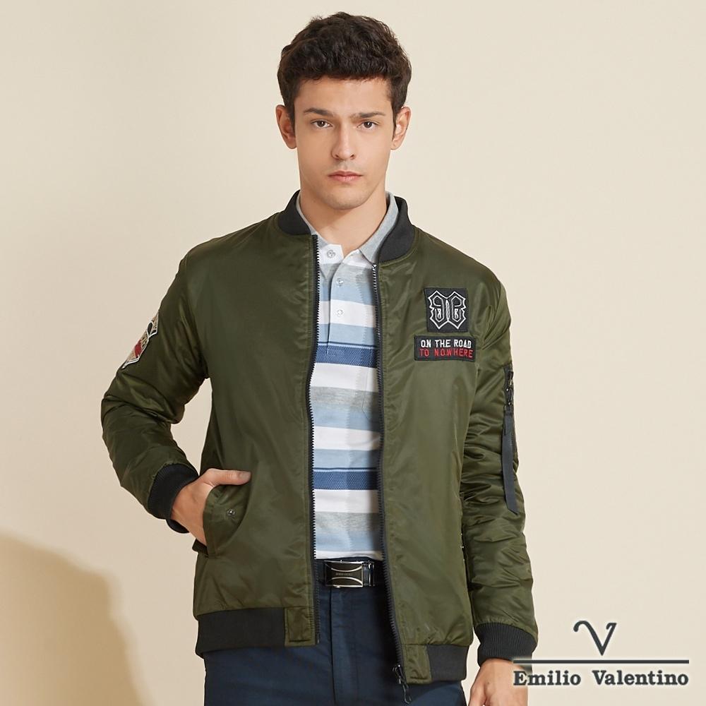Emilio Valentino范倫鐵諾帥氣時尚立領鋪棉禦寒飛行外套_綠(15-K3951)