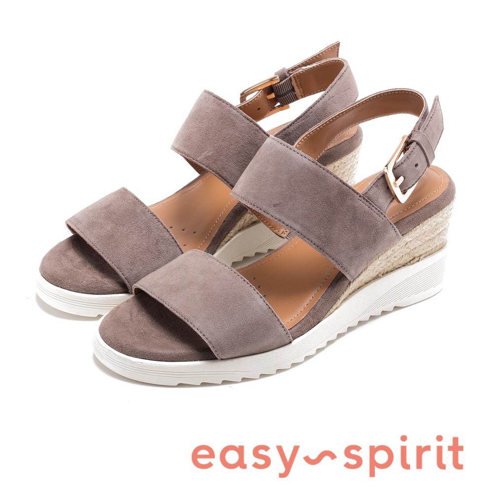 Easy Spirit evZEN 寬帶後繫帶高跟楔型涼鞋-絨灰